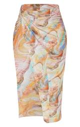 Sand Marble Printed Woven Knot Waist Split Leg Midaxi Skirt 5
