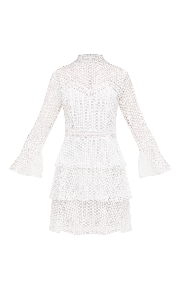 White Flare Sleeve Lace Tiered Mini Dress 3