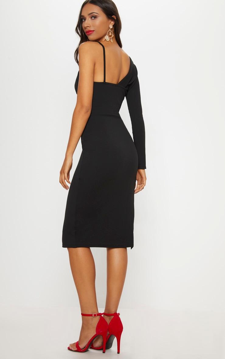 Black Asymmetric Tux Style Split Leg Midi Dress 2