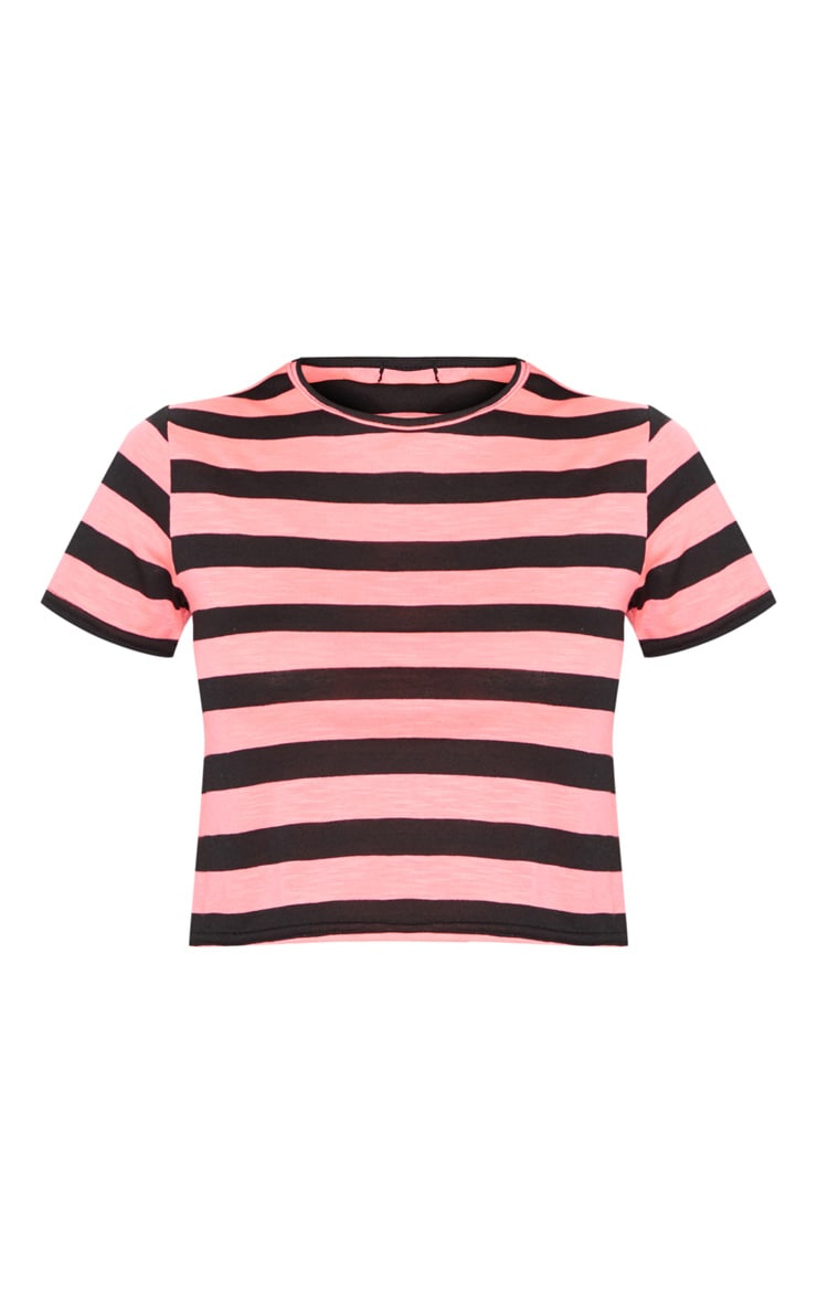 Neon Pink Stripe Jersey Crop Top 3