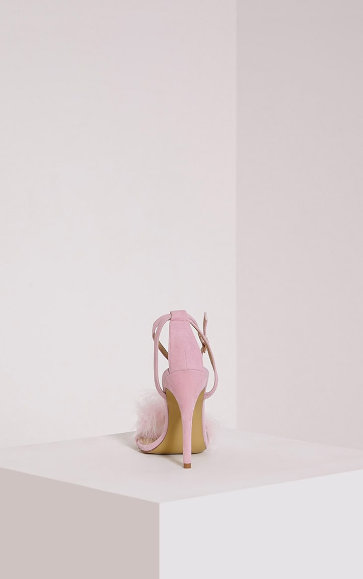 Gina Baby Pink Faux Suede Fluffy Heels 5