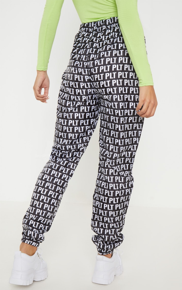 PRETTYLITTLETHING Monochrome Printed Shell Cuff Jogger 4
