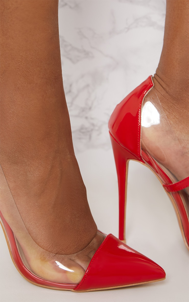 Red Patent Clear Court Shoes 5
