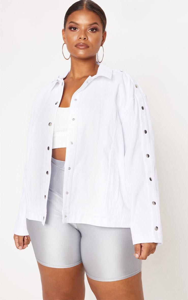 Plus White Popper Detail Denim Jacket 1