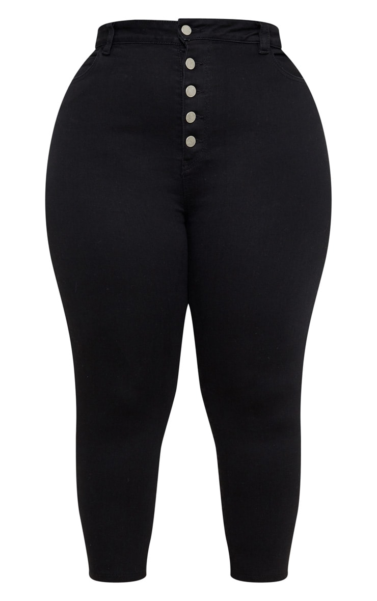 Plus Washed Black Button Waist Skinny Jean 3