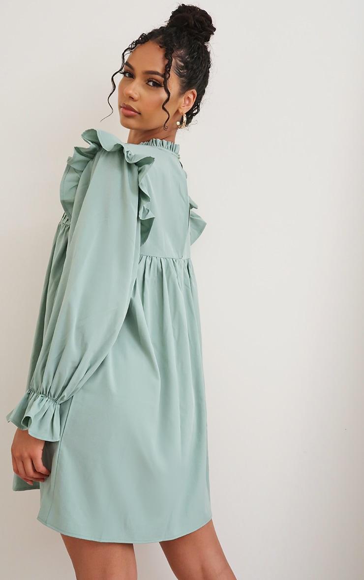 Sage Green Ruffle Binding Detail Shirt Dress 2