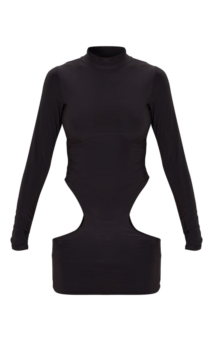 Black High Neck Extreme Cut Out Long Sleeve Bodycon Dress 3