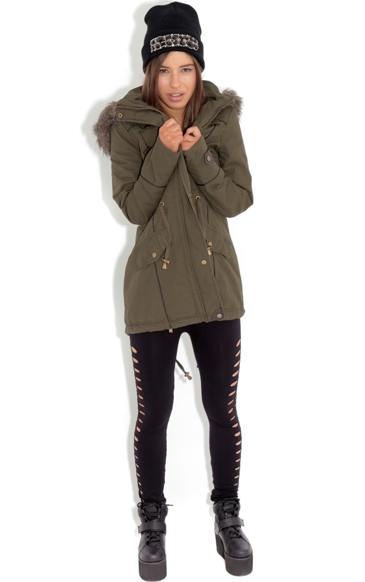 Alka Light Khaki Drawstring Parka 3