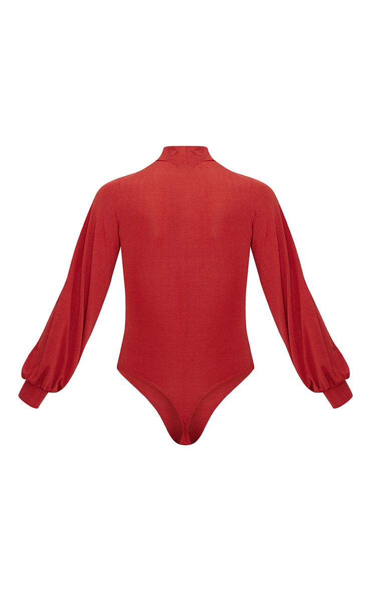 Burnt Orange Slinky High Neck Open Front Long Sleeve Bodysuit  3