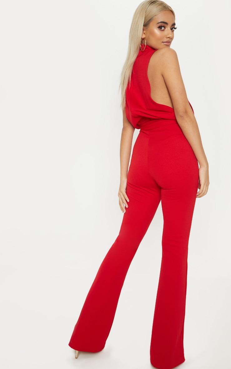 Petite Red Scuba High Neck Tie Waist Jumpsuit 2