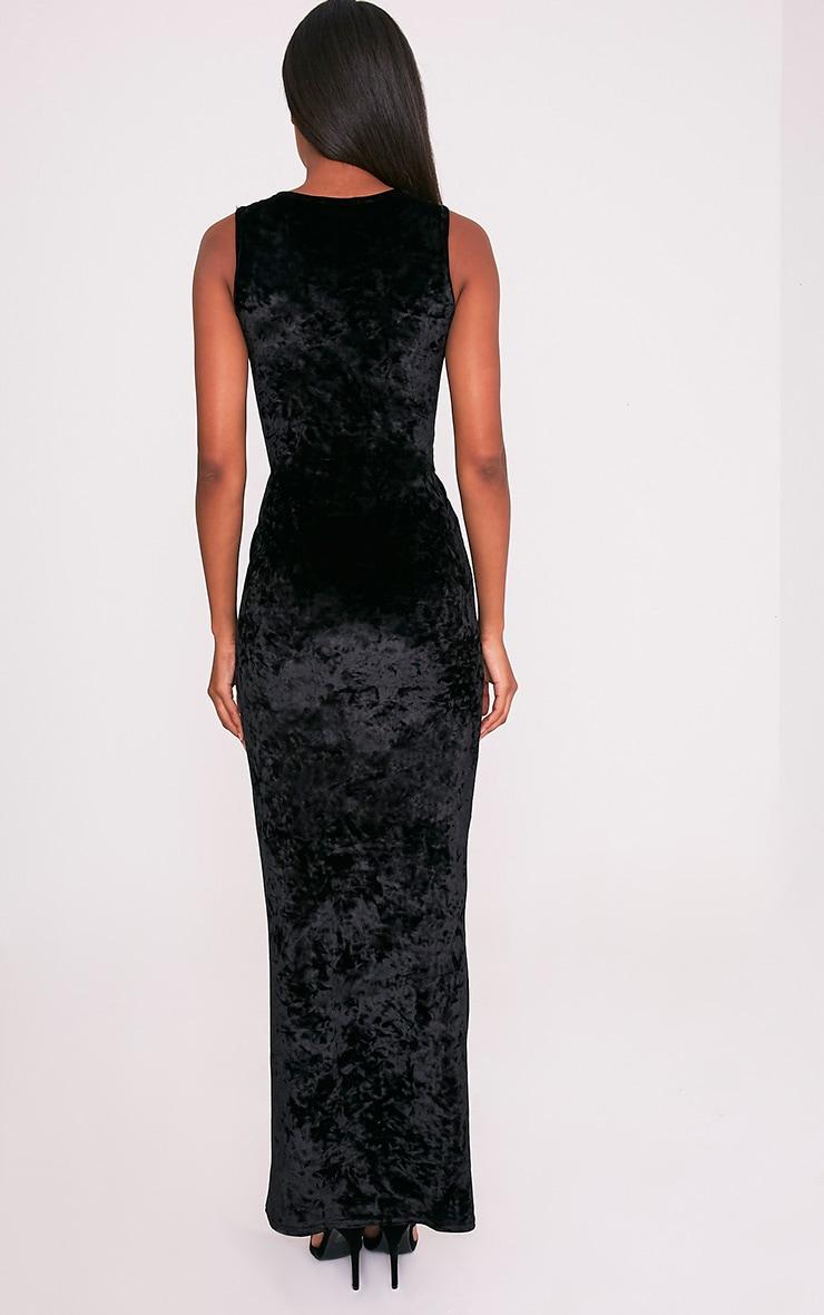 Jaydiah Black Crushed Velvet Cut Out Maxi Dress 2