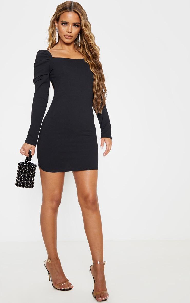 Petite Black Puff Sleeve Mini Dress 4