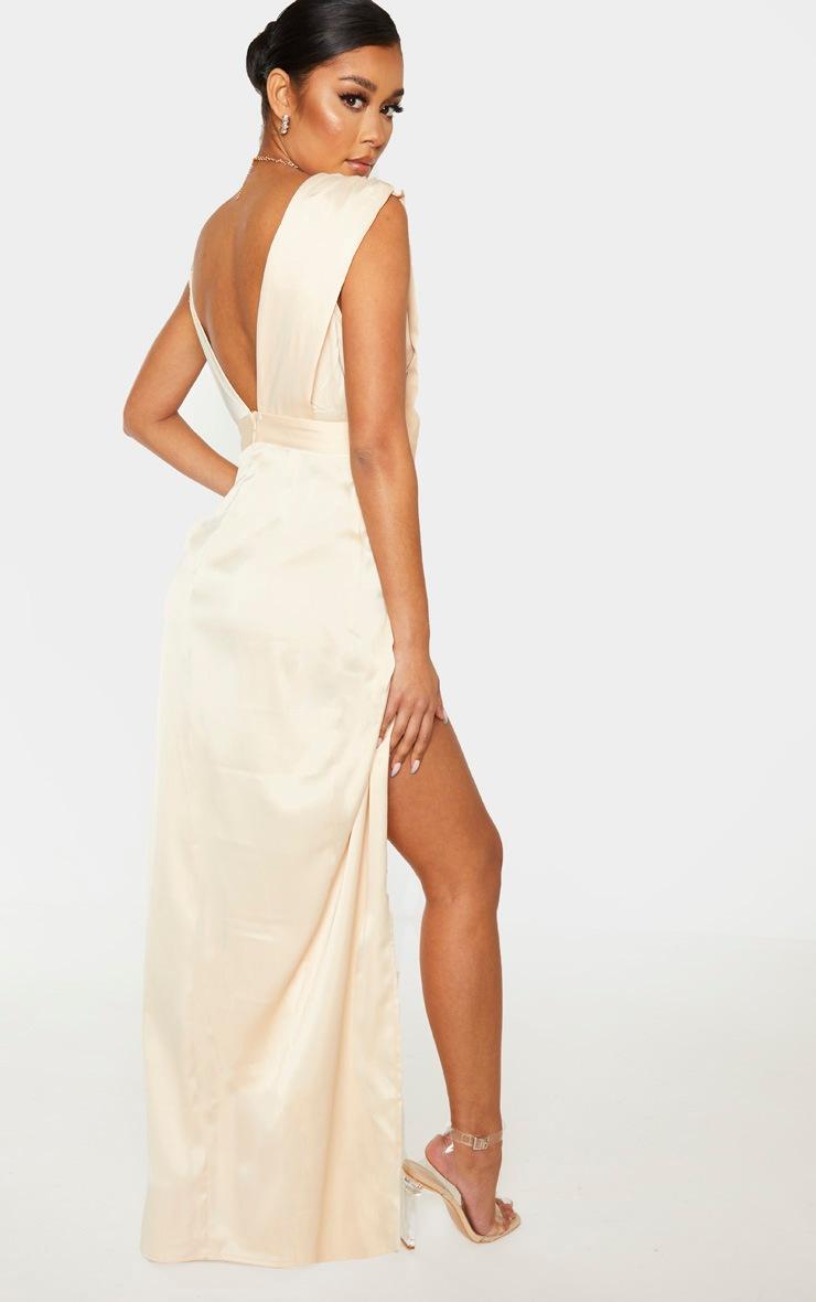 Champagne Asymmetric Drape Detail Maxi Dress 2
