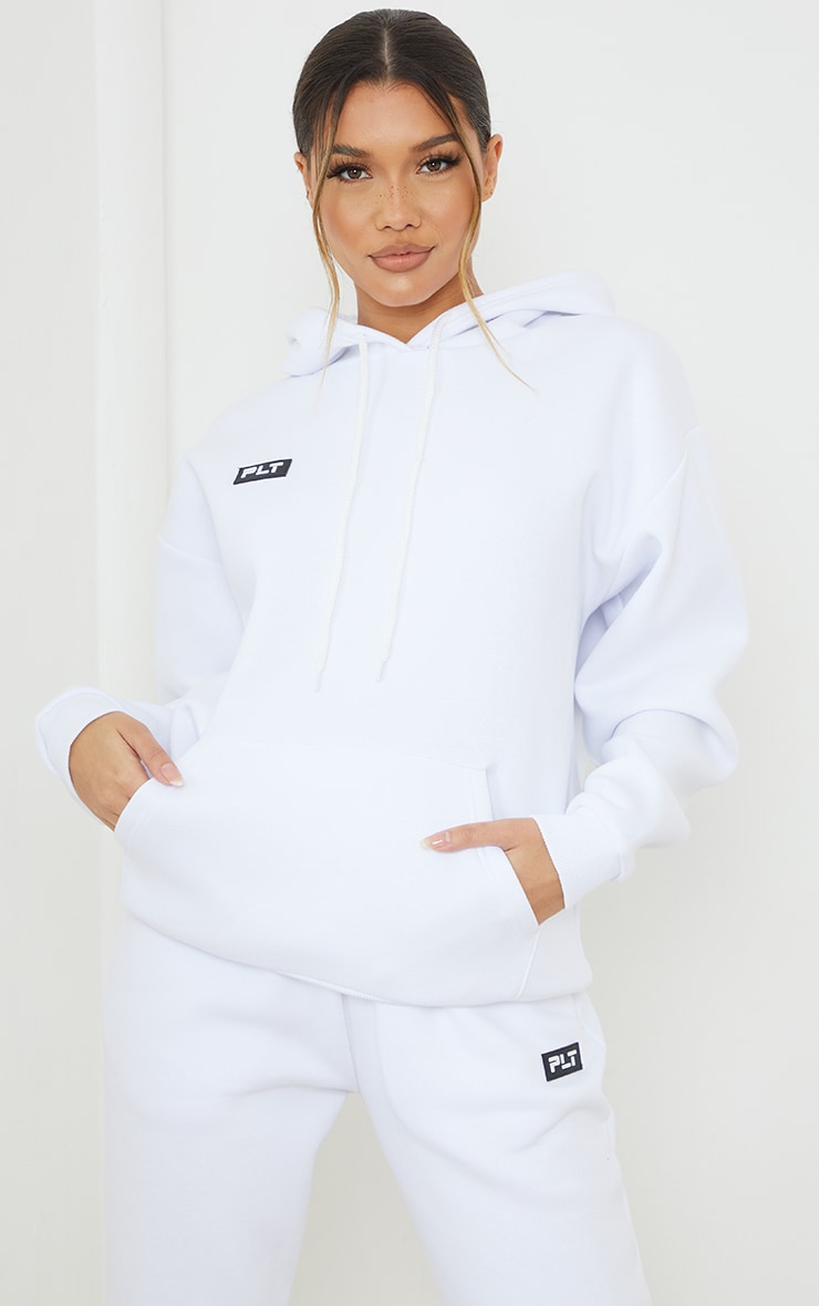 PRETTYLITTLETHING White Badge Detail Oversized Hoodie 1
