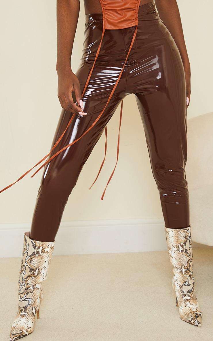 Tall Chocolate Vinyl Pocket Detail Skinny Trousers 2