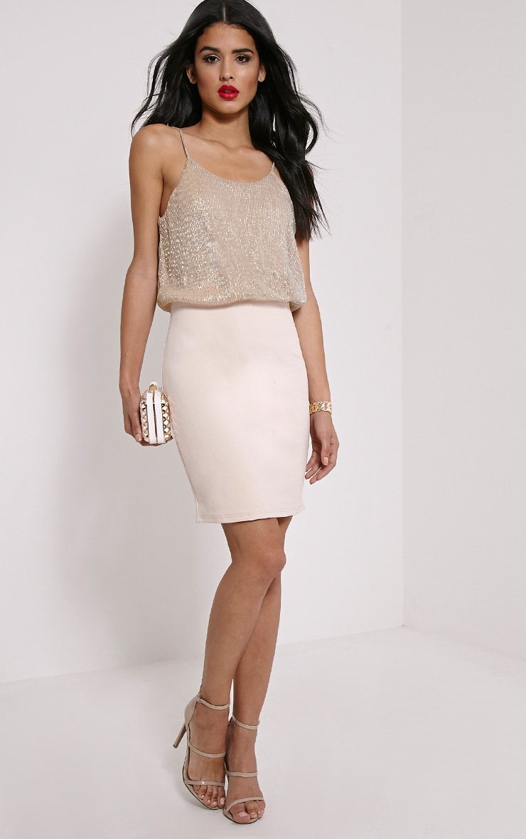 Blaine Beige Metallic Top Bodycon Dress 3