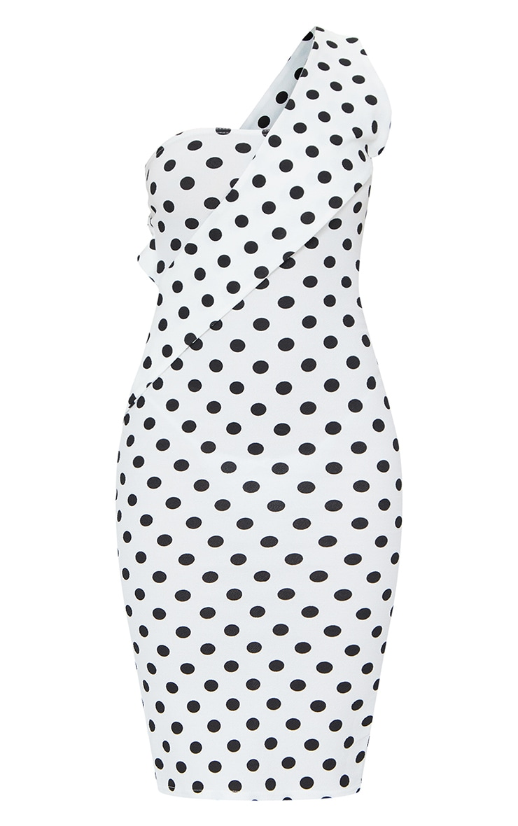 White Polka Dot Asymmetric Strap Midi Dress 5