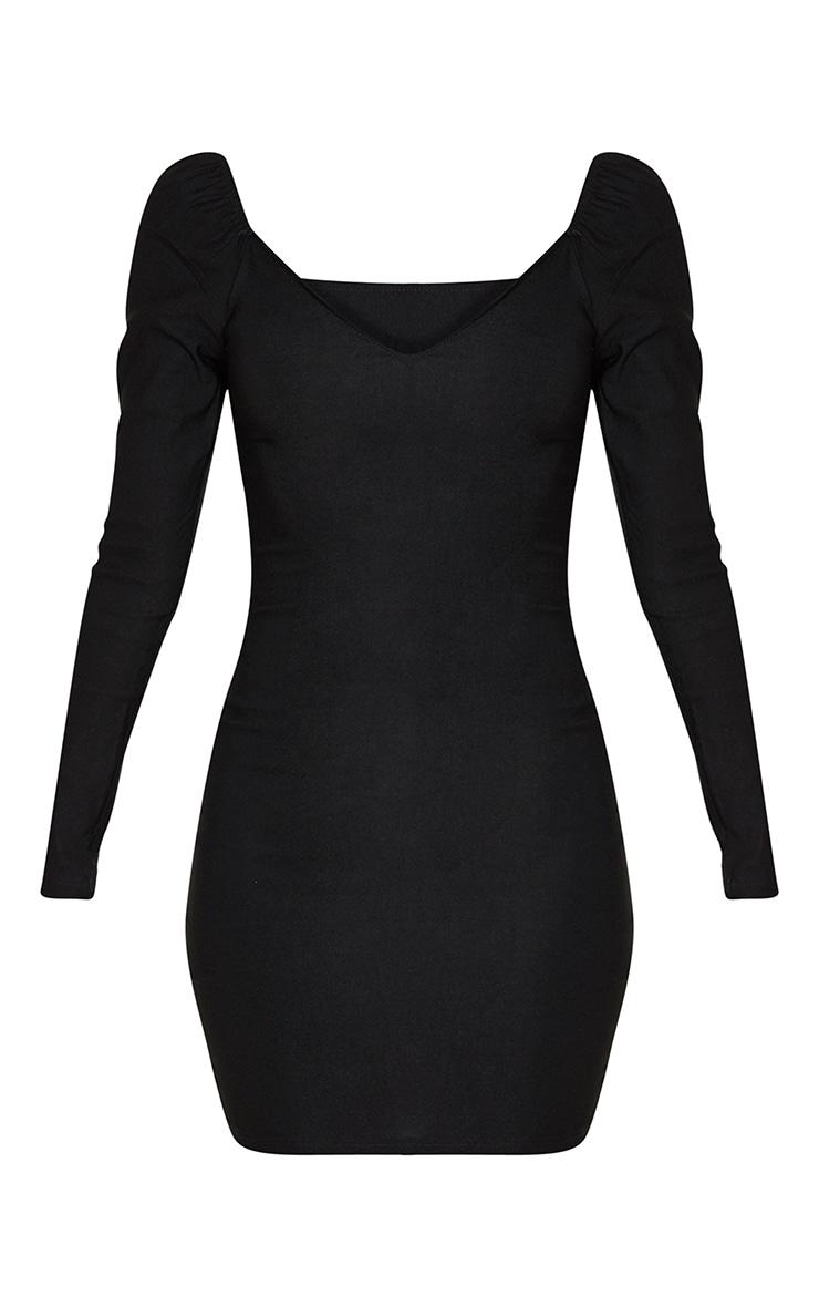 Black V Neck Puff Shoulder Bodycon Dress 3