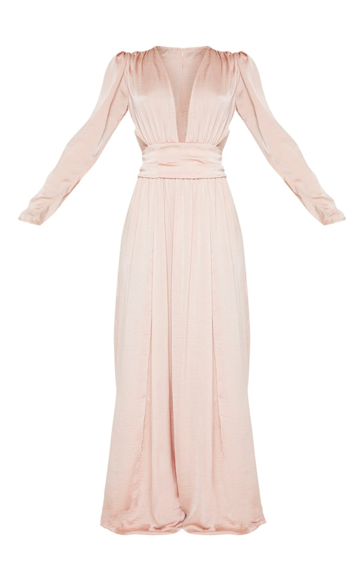 Nude Puff Sleeve Extreme Plunge Waist Detail Maxi Dress 3