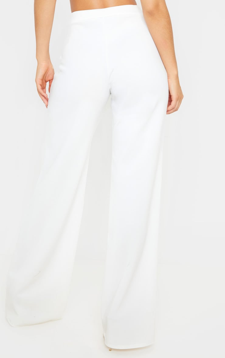 Cream Scuba Wide Leg Pants 4