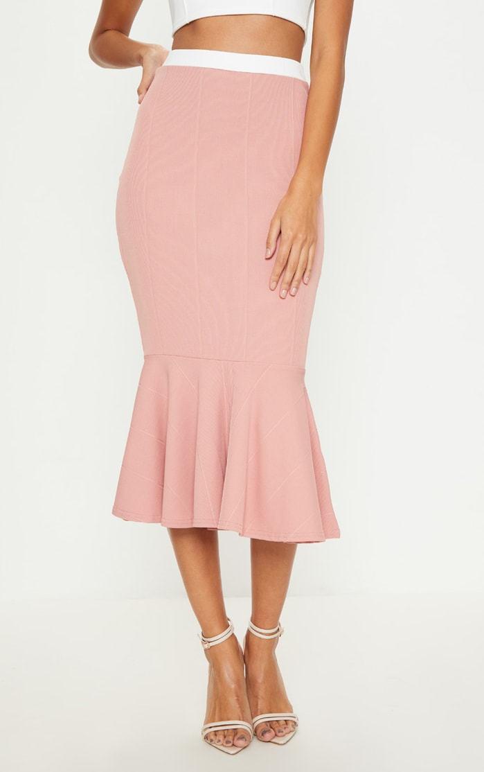 Dusty Pink Bandage Fishtail Midi Skirt 2