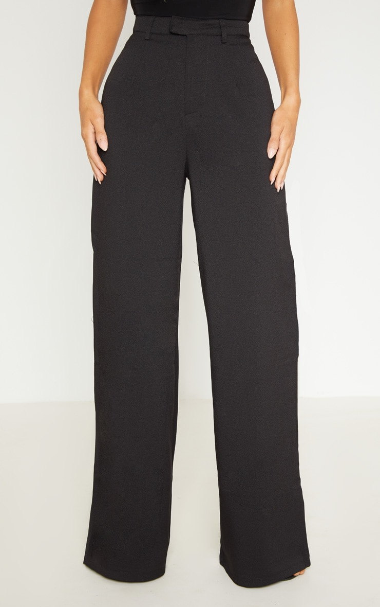 Reemah Black Wide Leg Crepe Pants 2