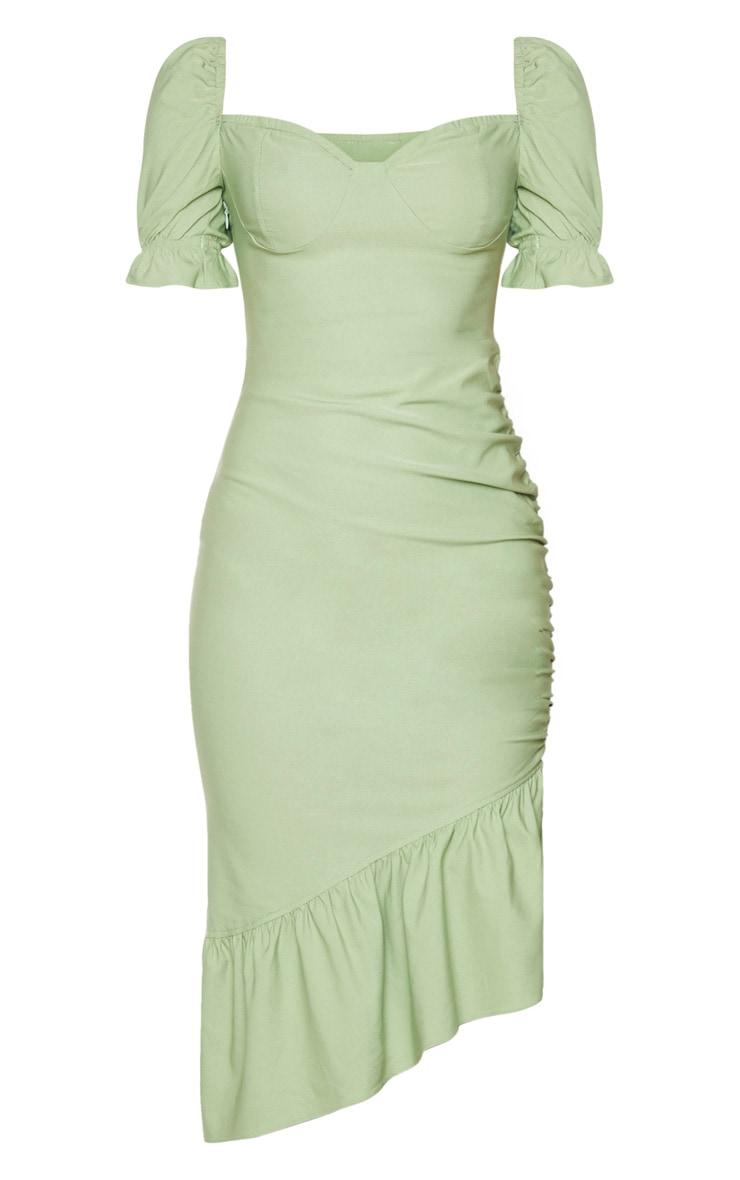 Sage Green Puff Sleeve Frill Hem Midi Dress 5