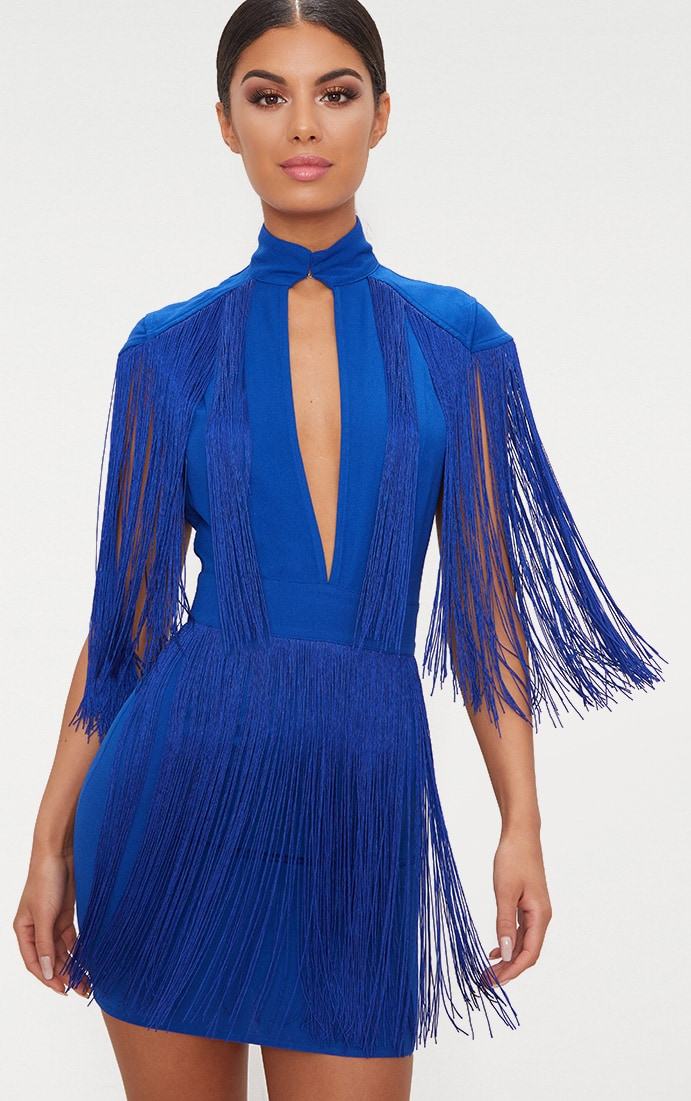 Cobalt Tassel Cap Sleeve Plunge Bodycon Dress