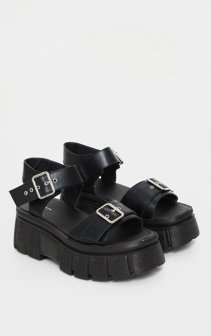 Black Chunky Sole Buckle Detail Sandal 5