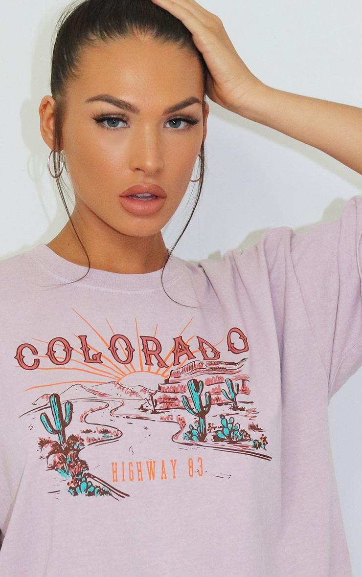 Mauve Colorado Logo Oversized Washed T Shirt 4