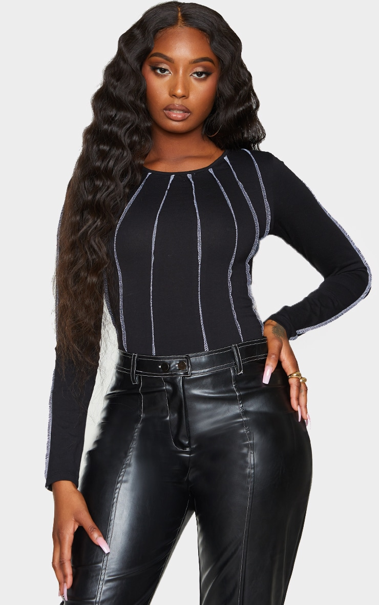 Black Seam Detail Long Sleeve Bodysuit 1