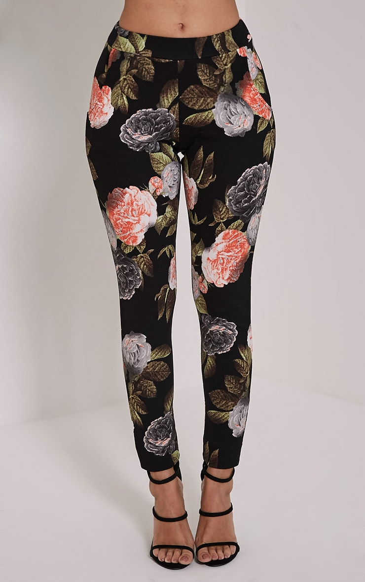 Charleze Black Floral Trousers 2