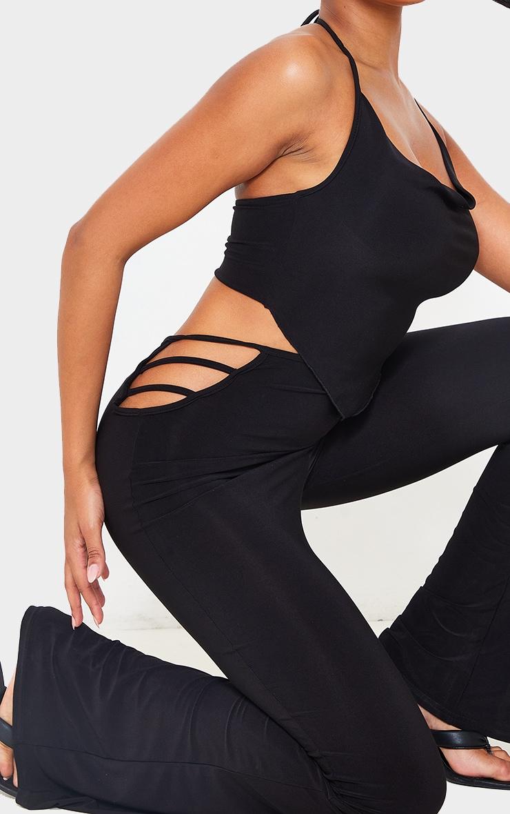 Black Slinky Cut Out Detail Skinny Flare Pants 4