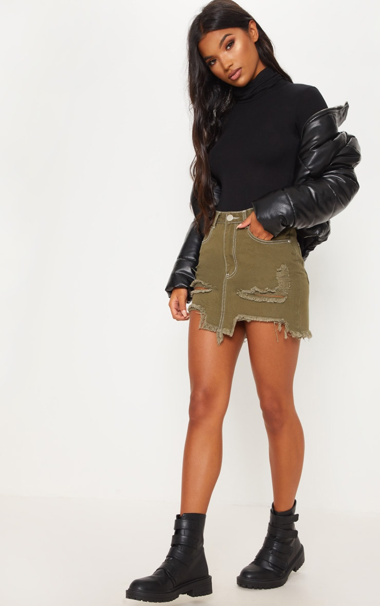 Khaki Contrast Stitch Distressed Denim Mini Skirt  5