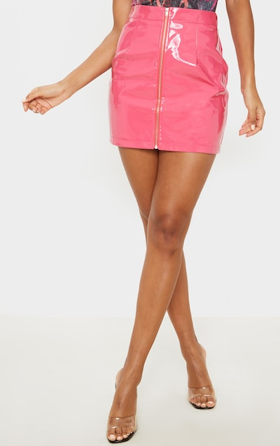 Hot Pink Vinyl Mini Skirt