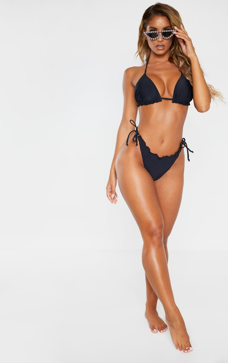 Black Frill Edge Ruched Back Bikini Bottom 4