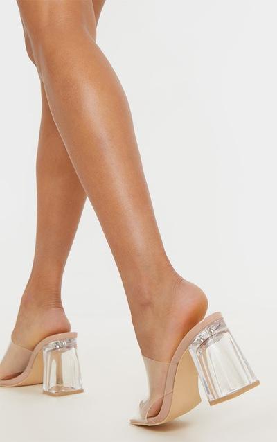 Nude Clear Block Heel Mule