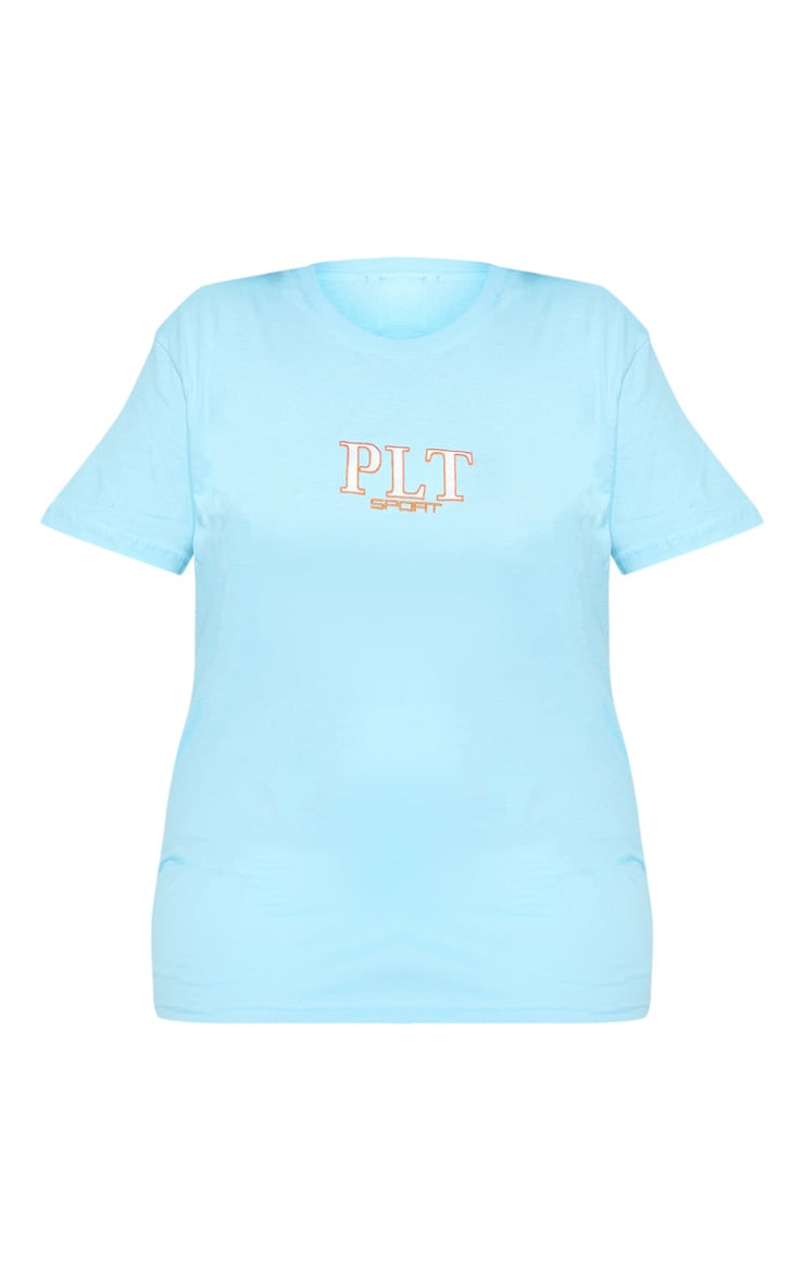 PRETTYLITTLETHING Plus Baby Blue Embroidered T Shirt 3