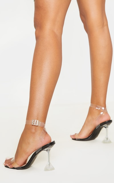 Black Clear Cake Stand Strappy Sandal