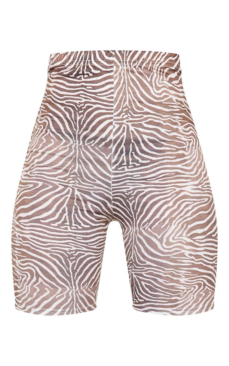 Brown Zebra Print Cycle Shorts 6