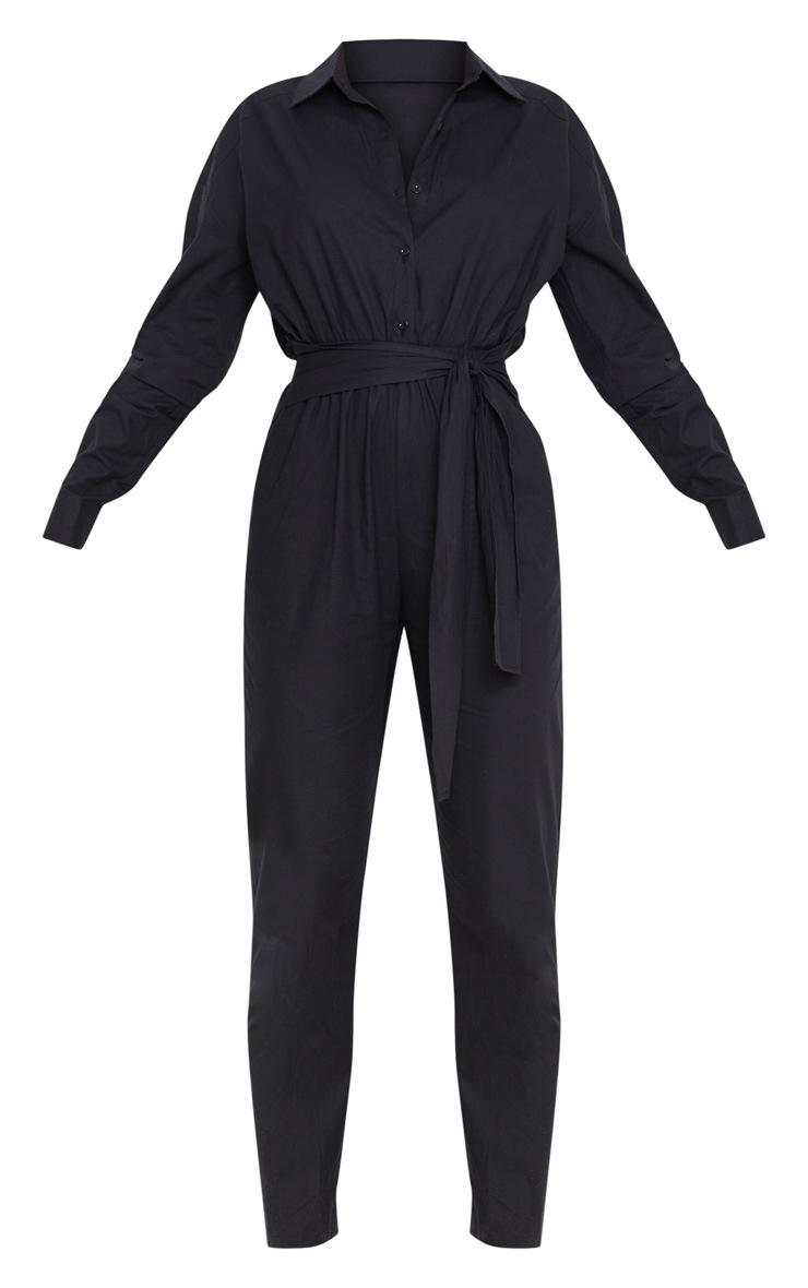 Black Tie Waist Shirt Jumpsuit 3