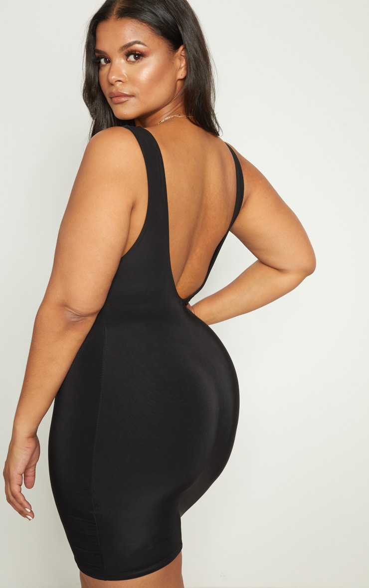Plus Black Second Skin Slinky Square Neck Bodycon Dress 2