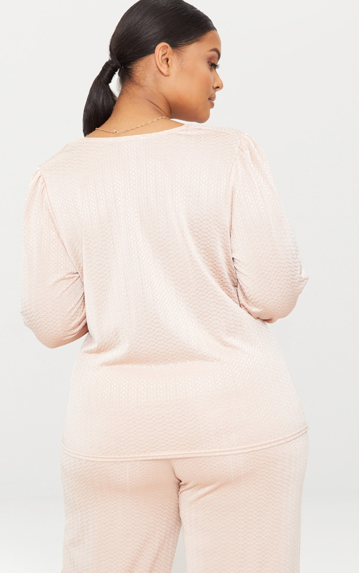 Plus Champagne Textured Plunge Top 2