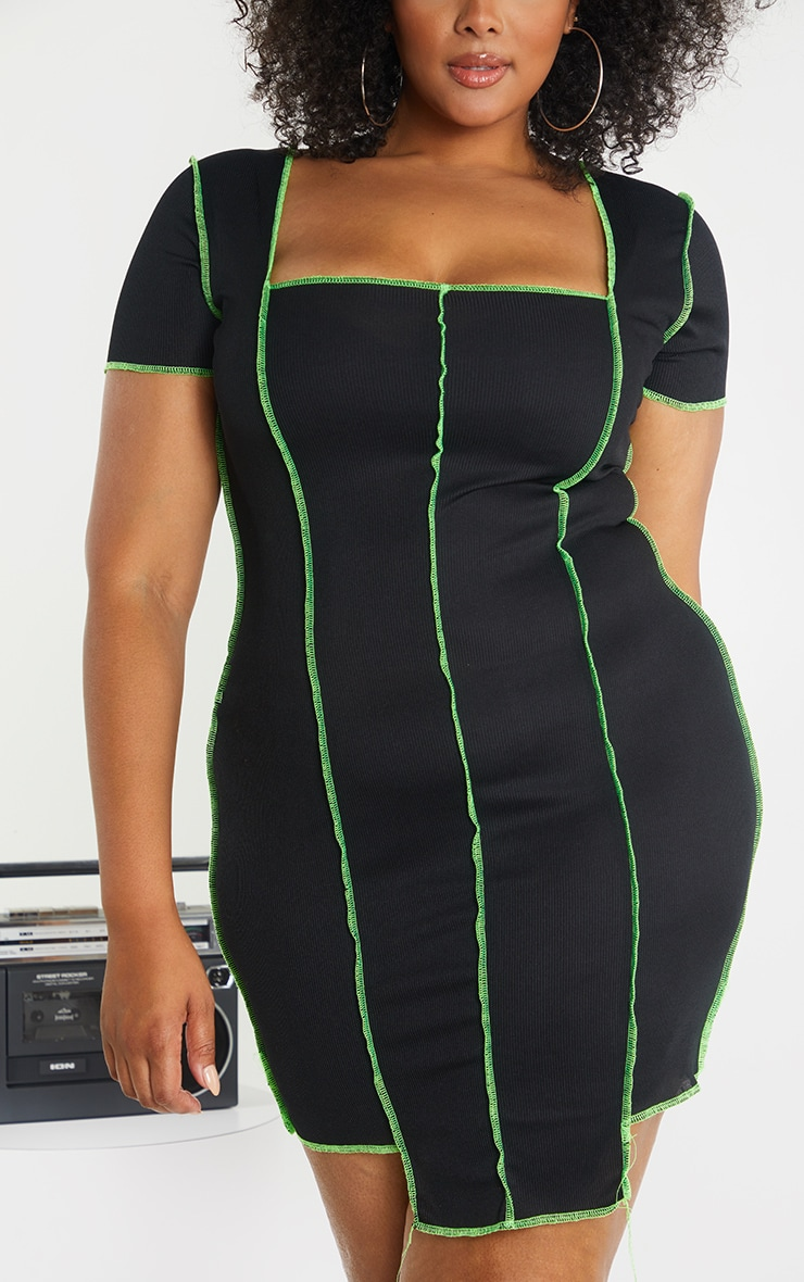 Plus Black Rib Overlocked Bodycon Dress 4