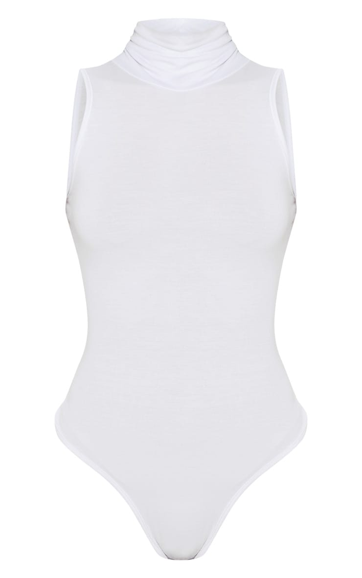 Petite White Basic High Neck Sleeveless Bodysuit  3