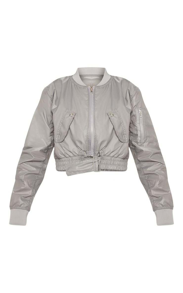 Grey Cropped Pocket Detail Bomber Jacket  3