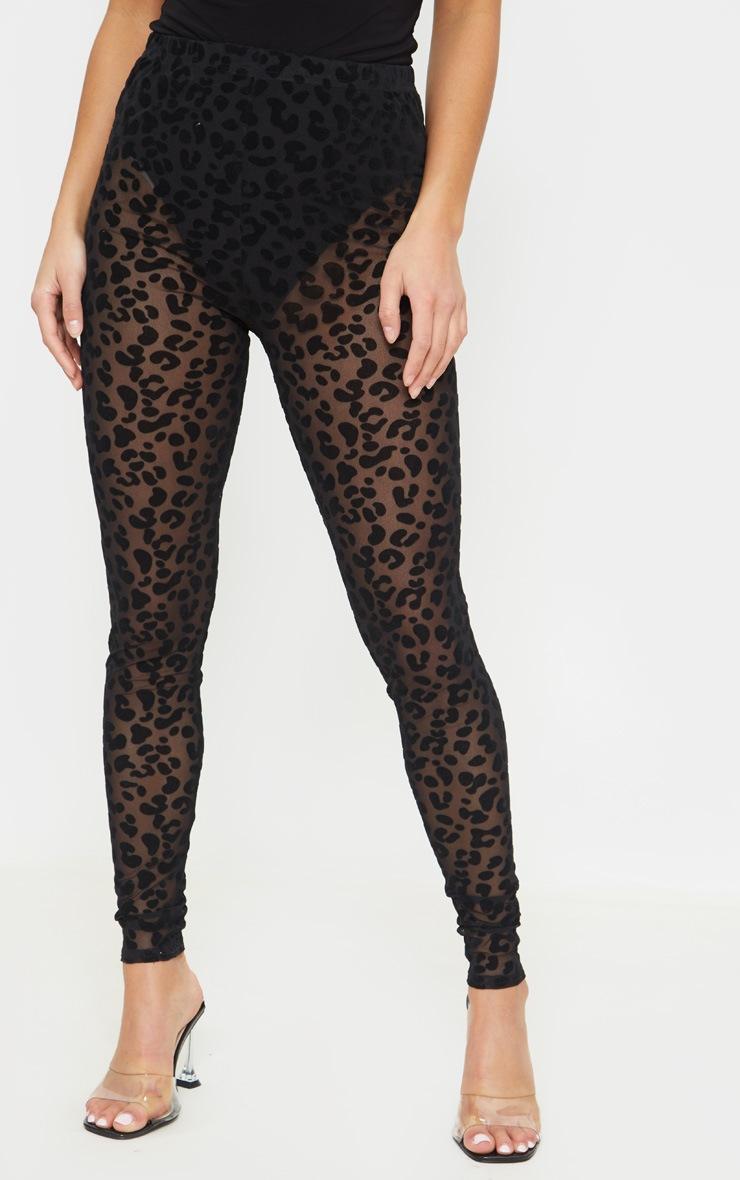 Petite Black Leopard Print Mesh Leggings 3
