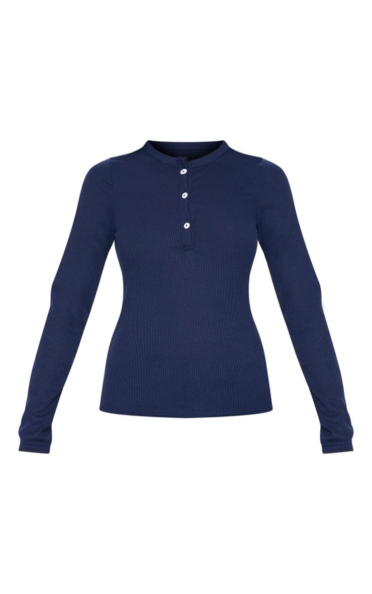 Navy Long Sleeve Rib Button Top 3