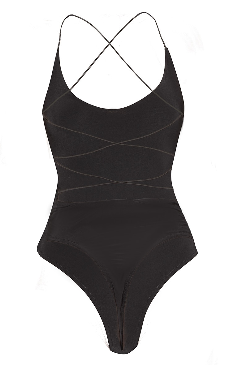 Black Slinky Spaghetti Strap Backless Bodysuit 4