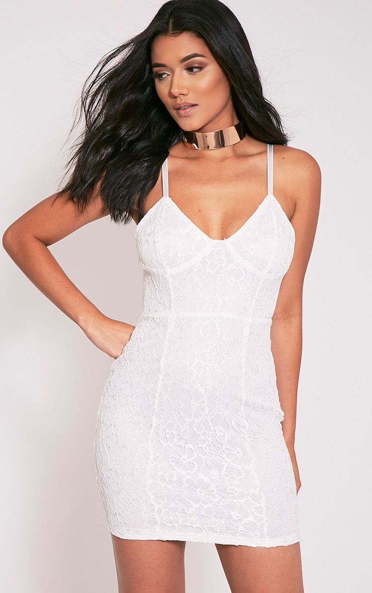 Catherina White Lace Panel Bodycon Dress 1
